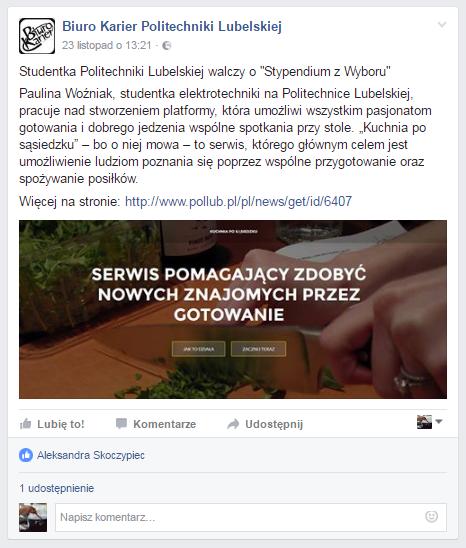 artykuł biura karier politechniki lubelskiej na temat kuchni po sąsiedzku